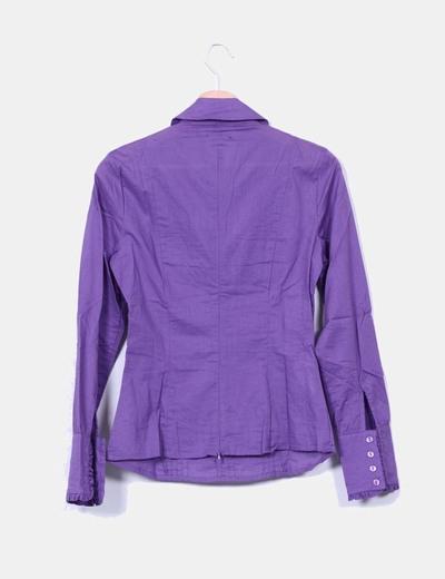 Blusa morada drapeada manga larga