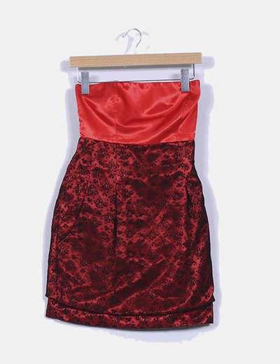 Vestido bicolor combinado de palabra de honor NoName