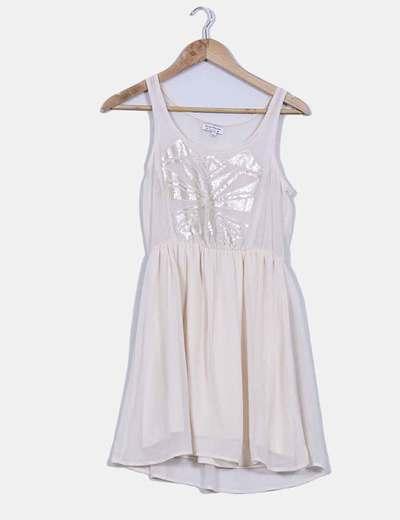 Vestido nude print con lentejuelas Bershka