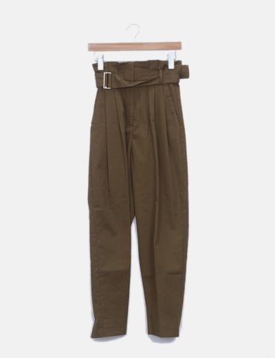 Pantalón paperbag khaki