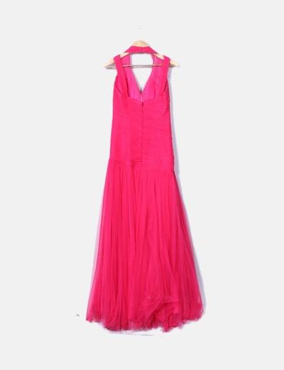 Vestido largo de fiesta rosa