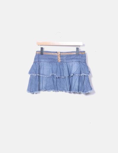 Falda volantes denim azul Bershka