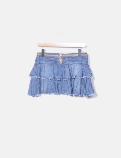 Falda volantes denim azul