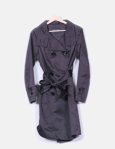 Trench satinado negro