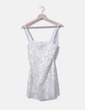 White dress paillettes Bershka