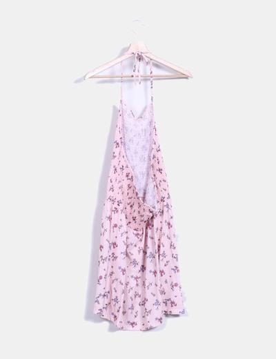 Vestido rosa floral halter nido de abeja