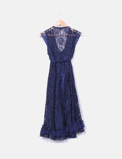 Vestido de encajes azul marino