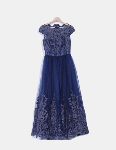 Vestido tul azul marino glitter Chi Chi London