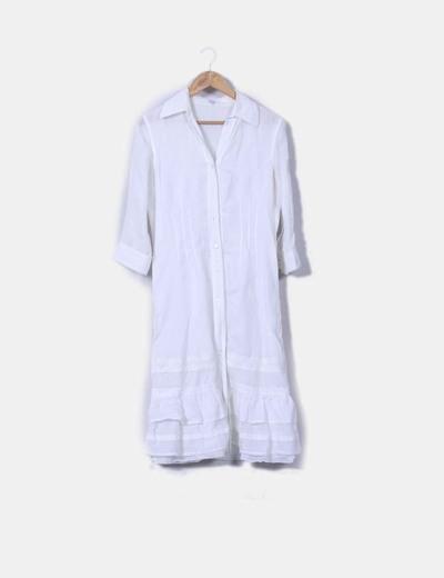 Vestido camisero maxi blanco roto Escada