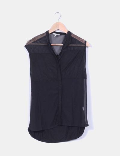 Blusa negra combinada sin mangas Zara