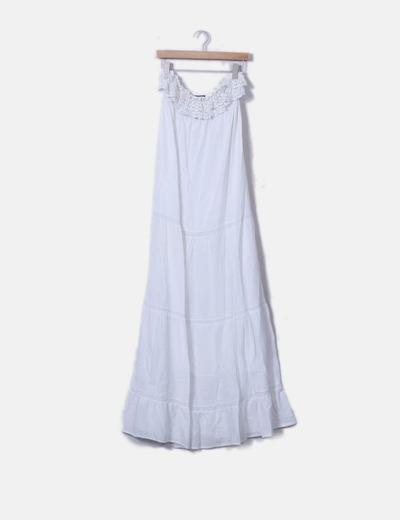 Robe blanche maxi avec de la dentelle Zara