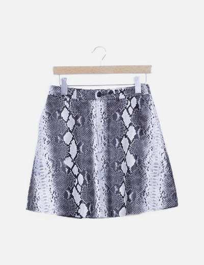 Falda mini encerada estampado animal print