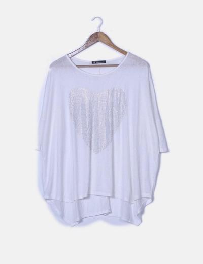 Camiseta blanca print corazón con strass