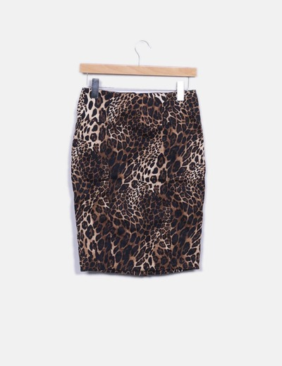 Falda midi animal print Suiteblanco