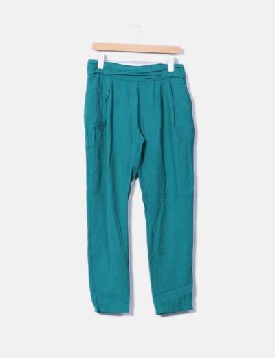 Pantalón baggy verde Mango
