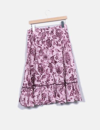 Falda midi rosa print floral