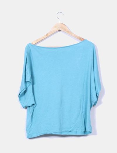 Top azul print oversize
