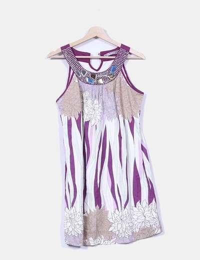 Vestido estampado con pedrería  Sophyline