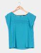 Blusa turquesa de gasa con pliegues delanteros Zara