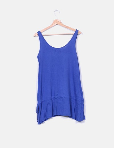 Vestido azul escote corchetes