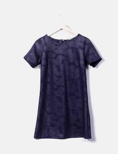 Vestido azul de manga corta