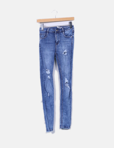 Jeans denim pitillo ripped Armonias