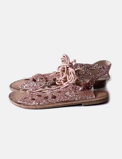 Sandalia rosa glitter
