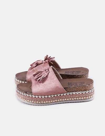 Sandalia antelina rosa borlas