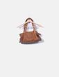 Bolso de piel marrón con cadenas Zara