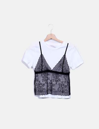 Camiseta blanca combinada encaje Zara