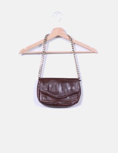 Mini bolso marrón texturizado