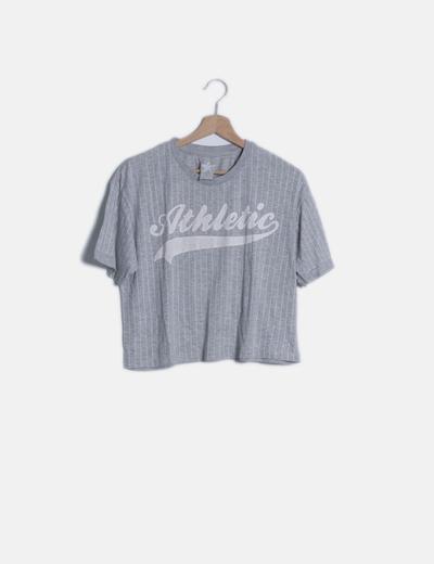 Camiseta manga corta gris con rayas
