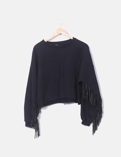Sudadera oversize negra con flecos glitter Zara