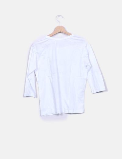 Camiseta blanca print flores