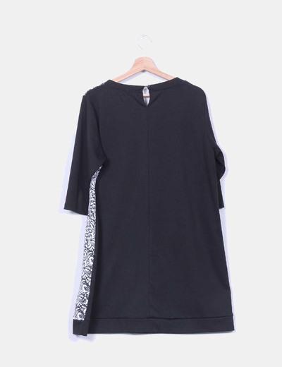 Vestido estampado negro y blanco