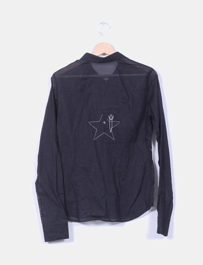 Camisa negra semi transparente