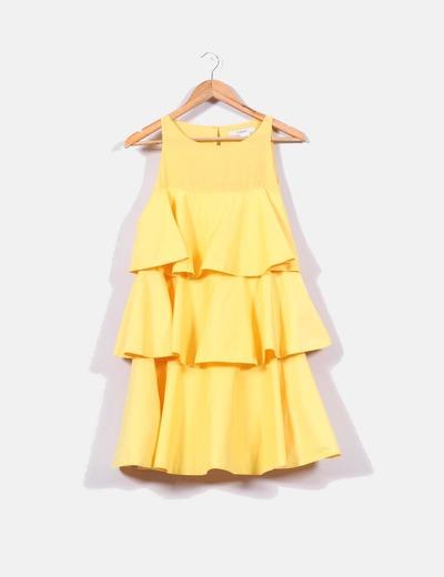 en venta en línea seleccione para mejor estilo de moda Vestido amarillo de volantes