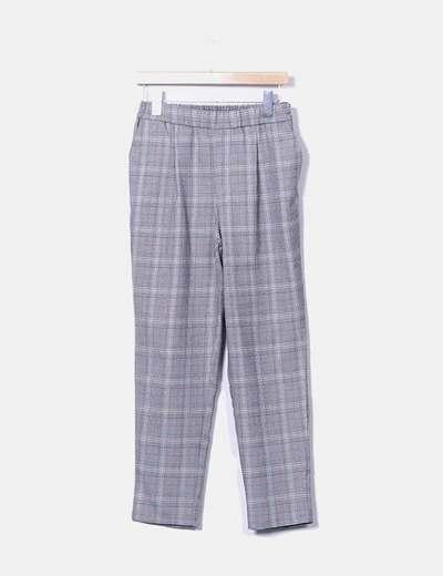 Pantalón chino gris cuadros
