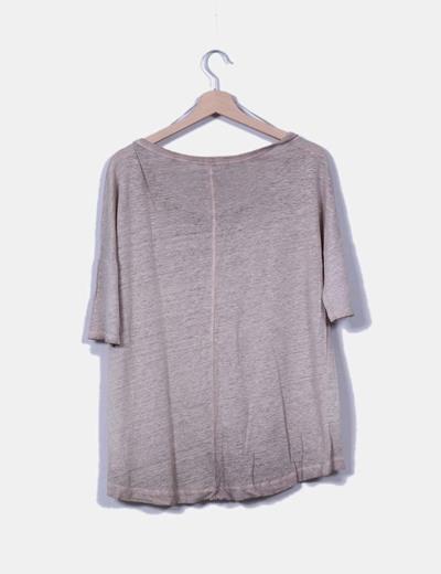 Camiseta camel fino manga corta