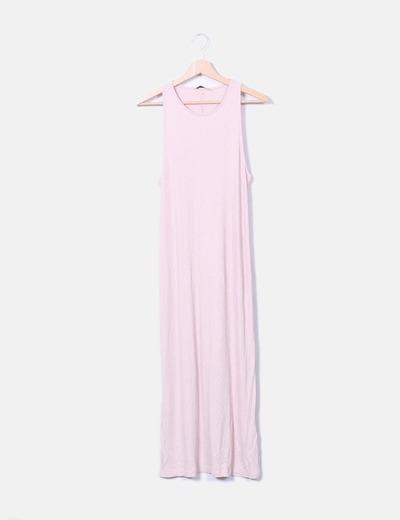 Maxi vestido plisado rosa Pull&Bear