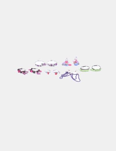 Conjunto seis pares de pendientes cuentas de colores NoName