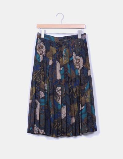 Falda midi estampada con tablillas NoName