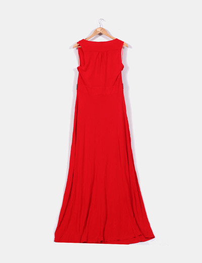 Maxi vestido fluido rojo detalle pedreria
