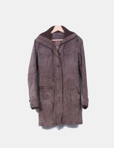Abrigo marrón de piel Stradivarius