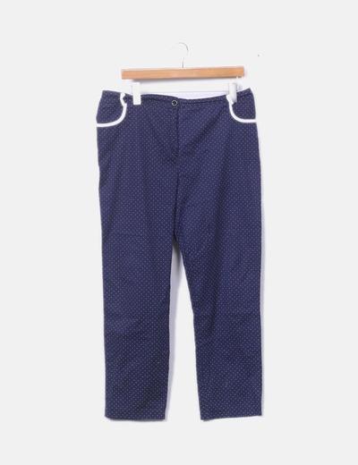 Pantalón chinos azul marino topos blancos
