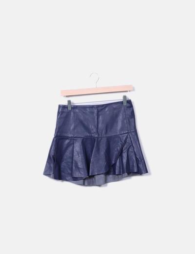 Mini falda polipiel azul marina Zara