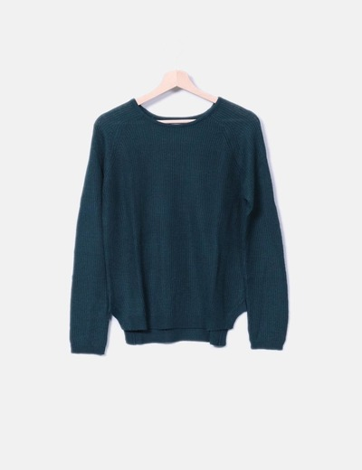 Jersey tricot verde Pull&Bear