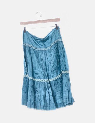 elige mejor nuevo alto mayor descuento Falda azul con volantes