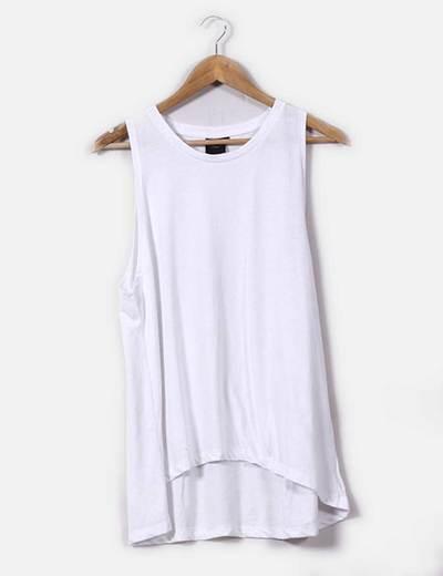 Camiseta blanca sin mangas oversize Selected