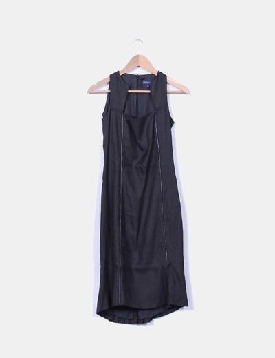 Vestido maxi negro combinado con escote cuadrado Adolfo Dominguez